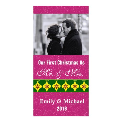 Our First Christmas Wedding Photo Cards, Fuchsia