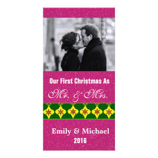 Our First Christmas Wedding Photo Cards, Fuchsia Picture Card