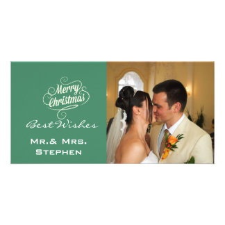 Our First Christmas Wedding Photo Cards, Green Personalised Photo Card
