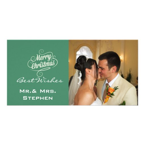 Our First Christmas Wedding Photo Cards, Green