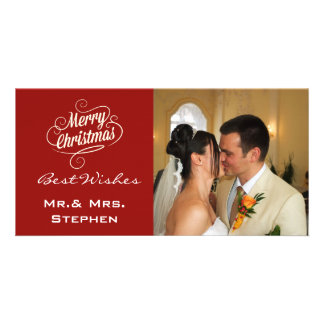 Our First Christmas Wedding Photo Cards,Maroon Photo Greeting Card