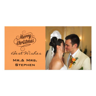 Our First Christmas Wedding Photo Cards, Orange Custom Photo Card