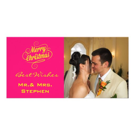 Our First Christmas Wedding Photo Cards, Pink