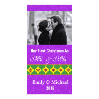 Our First Christmas Wedding Photo Cards, Purple Custom Photo Card