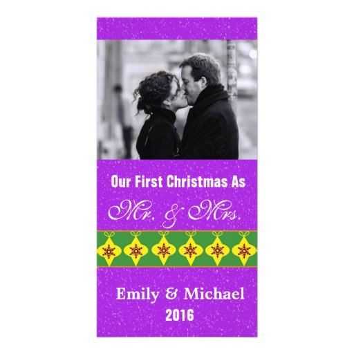 Our First Christmas Wedding Photo Cards, Purple