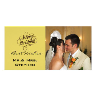 Our First Christmas Wedding Photo Cards, Yellow Card