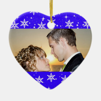 Our First Christmas Wedding Photo Ornament,Blue Ceramic Heart Decoration