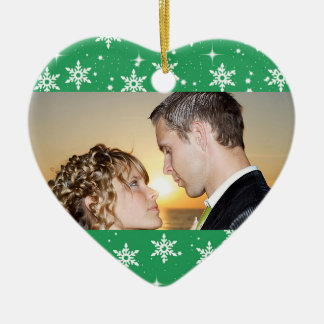 Our First Christmas Wedding Photo Ornament, Green