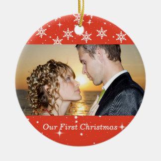 Our First Christmas Wedding Photo Ornament, Orange Round Ceramic Decoration
