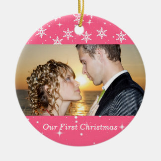Our First Christmas Wedding Photo Ornament, Peach Round Ceramic Decoration