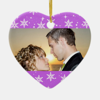 Our First Christmas Wedding Photo Ornament, Purple Ceramic Heart Decoration