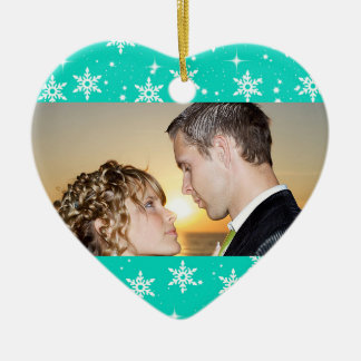 Our First Christmas Wedding Photo Ornament, Teal Ceramic Heart Decoration