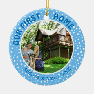 Our First Home, Blue & White Dots, Two Photo Ceramic Ornament