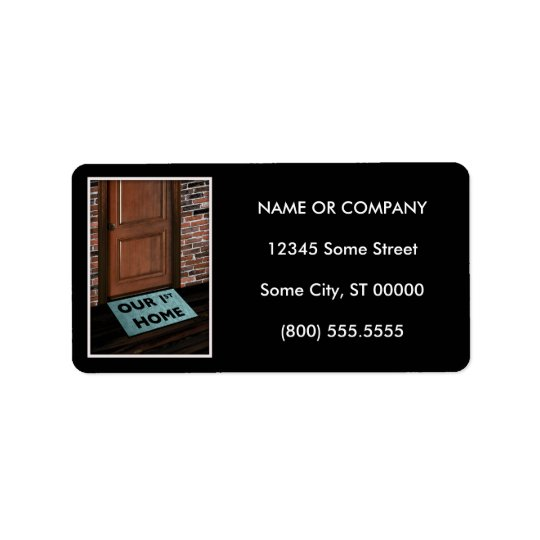 our first home door mat label