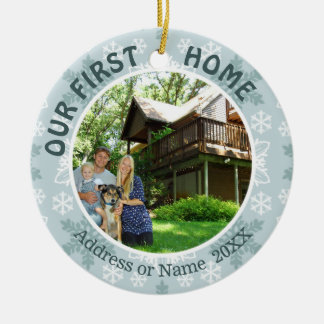 Our First Home, Teal & White Snowflakes, Two Photo Ceramic Ornament