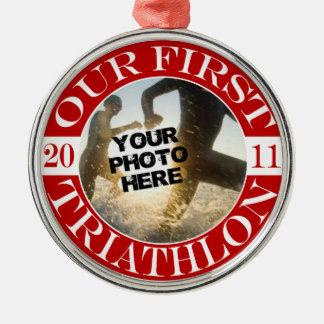 Our First Triathlon - 2011 Metal Ornament
