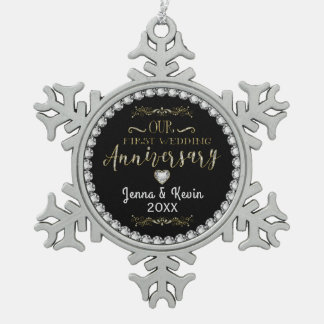 Our First Wedding Anniversary Snowflake Pewter Christmas Ornament