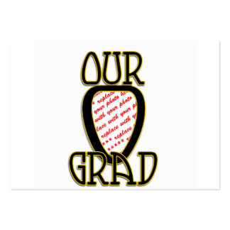 OUR GRAD Black Gold School Colors Frame Business Card Templates