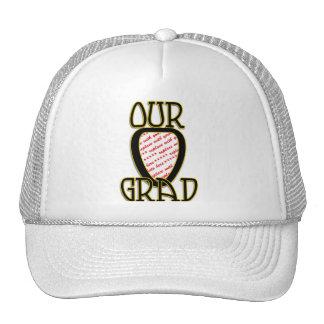 OUR GRAD  Black & Gold School Colors Frame Hats