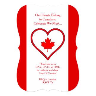 Our Hearts Canada Day Party Invitation