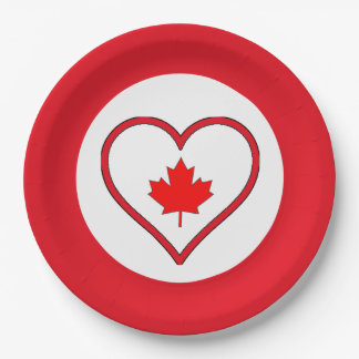 Our Hearts Canada Day Party Paper Plates 9 Inch Paper Plate