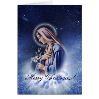Our Holy Maria Blue Christmas Greeting Card