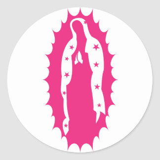 our lady guadalupe pink classic round sticker