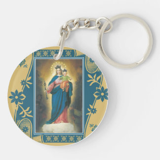 Our Lady Help of Christians with Baby Jesus Double-Sided Round Acrylic Key Ring
