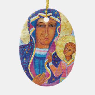 Our Lady of Czestochowa Black Madonna Poland Ceramic Ornament