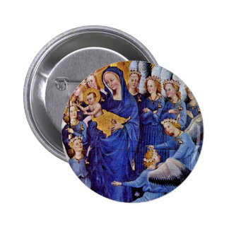 Our Lady Of Eleven Angels By Meister Des Wilton-Di 6 Cm Round Badge