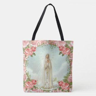 Our Lady of Fatima Pink Roses Tote Bag