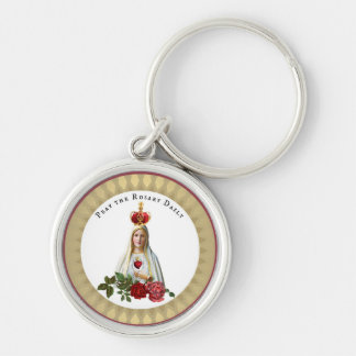 Our Lady of Fatima Roses Rosary Crown Silver-Colored Round Key Ring