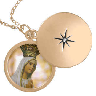 Our Lady of Fatima Round Locket Necklace