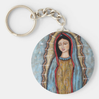 Our Lady of Guadalupe Basic Round Button Key Ring