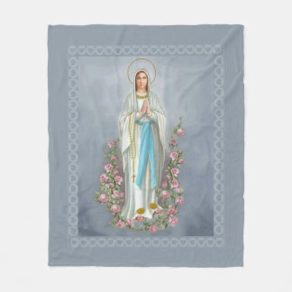 Our Lady of Lourdes Rosary Virgin Mary Roses Fleece Blanket