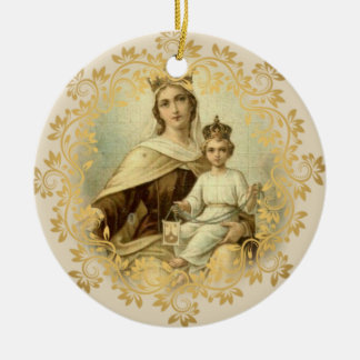 Our Lady of Mount Carmel  Baby Jesus Scapular Ceramic Ornament