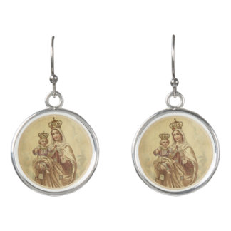 Our Lady of Mount Carmel Baby Jesus Scapular Earrings
