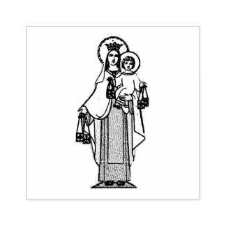 Our Lady of Mount Carmel w Scapular Rubber Stamp