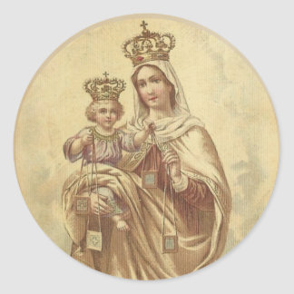 Our Lady of Mount Carmel with the Baby Jesus Classic Round Sticker