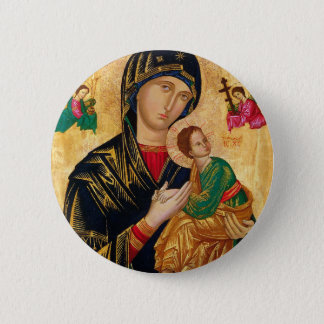 Our Lady of Perpetual Help Icon Virgin Mary Art 6 Cm Round Badge