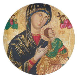 Our Lady of Perpetual Help Icon Virgin Mary Art Plate