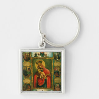 Our Lady of Pochaev Silver-Colored Square Key Ring