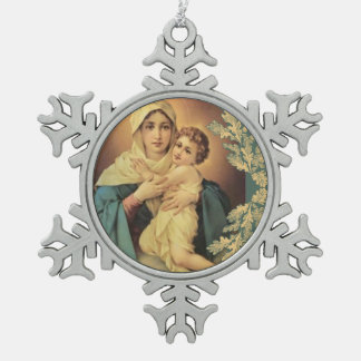 Our Lady of Schoenstatt Baby Jesus Snowflake Pewter Christmas Ornament