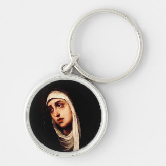 Our Lady of Sorrow Silver-Colored Round Key Ring