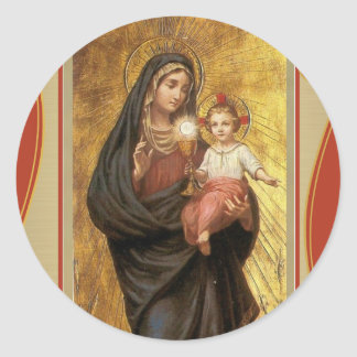 """Our Lady of the Blessed Sacrament with Baby Jesus Classic Round Sticker"