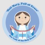 Our Lady of the Rosary Round Stickers