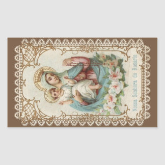 Our Lady of the Rosary with the Baby Jesus Rectangular Sticker