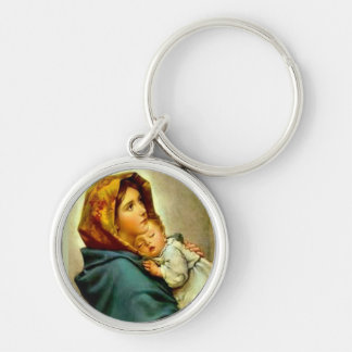 Our Lady of the Street Blessed Mother Baby Jesus Silver-Colored Round Key Ring