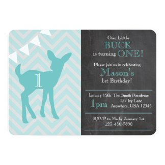 Our Little Buck Is Turning ONE Birthday Invite
