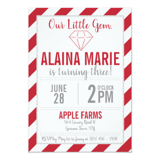 Our Little Gem Ruby Silver Glitter Birthday Invite